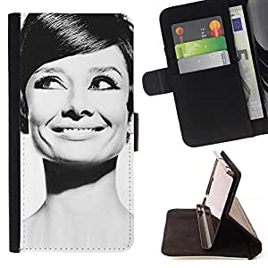 DEVIL CASE - FOR LG OPTIMUS L90 - Audrey Actress Black White Classic Portrait - Style PU Leather Case Wallet Flip Stand Flap Closure Cover