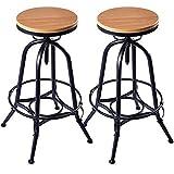 Set of 2 Vintage Style Bar Stools Industrial Metal Design Wood Top Adjustable Swivel #726