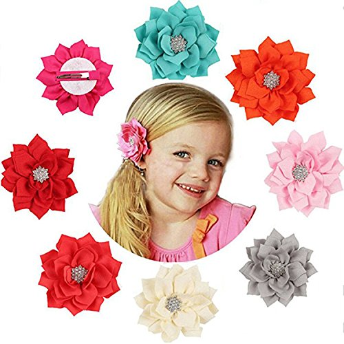 Newland Hair Clip Hairpin Hairbow Flowers For Baby Girls Kids Children Hair Accessories (8 Packs) (Multicoloured)