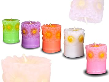 Sshakuntlay� Flower Candle Set of 5 Decorative Candle/Unscented for Diwali Home Lighting