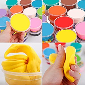 Dry Modeling Clay Set Ultra-light 24 colors Plasticine DIY Art Crafts Colored Modeling Magic with Tools for Children 3 year old and up.