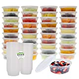 Freshware Meal Prep Food Containers for with Leak Proof Lids (40 Pack), 8 oz, Black