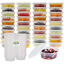 Freshware 40-Pack 8 oz Plastic Food Storage Containers with Airtight Lids - Restaurant Deli Cups, Foodsavers, Baby, Bento Lunch Box, 21 Day Fix, Portion Control, and  Meal Prep Containers