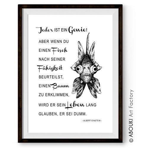 Abouki Hochwertiger Kunstdruck Ungerahmt Einstein Zitat