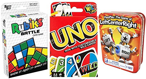Battle Match Game LCR Dice + Go Uno Wild Card Game + Rubik Cube Battle Shout & Left Center Right Tin Combo Fun time -