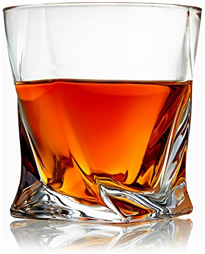 Lift Off Presentation Box (Venero Whiskey Glasses - Set of 4 - Premium Lead-Free Crystal Glass - Large 12 oz Tasting Tumblers for Drinking Scotch, Bourbon, Irish Whisky, Brandy - Luxury Gift Box for Men or Women)