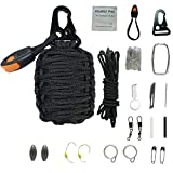 The Bobcats 21 Attachments Survival Kit Wrapped in Survival Grenade with 550lb Paracord For Outdoor Emergency (Black)