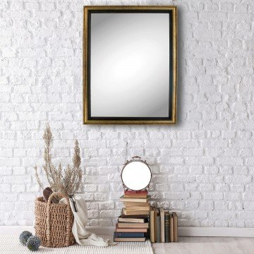 Vintage Bronze Framed Wall Mounted Mirror Rectangular 17 X 13 Elegant Classic Antique Look