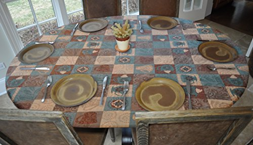 Elastic Edged Flannel Backed Vinyl Fitted Table Cover - GLOBAL COFFEE  Pattern - Oblong/Oval - Fits tables up to 48