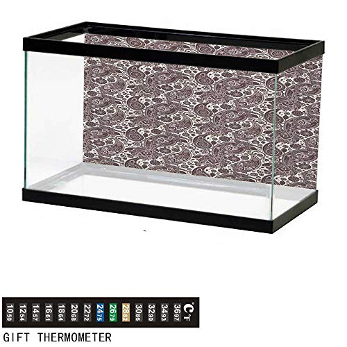 wwwhsl Aquarium Background,Ethnic,Traditional Ethnic Folk Art Textured Cultural Retro Twisted Leaves Classical Art,Black Gold Fish Tank Backdrop 48