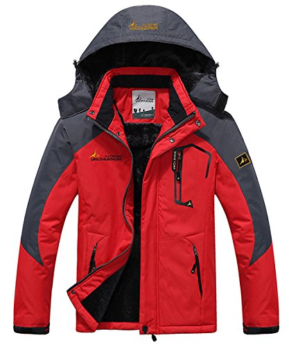 JINSHI Mens Mountain Waterproof Fleece Ski Jacket