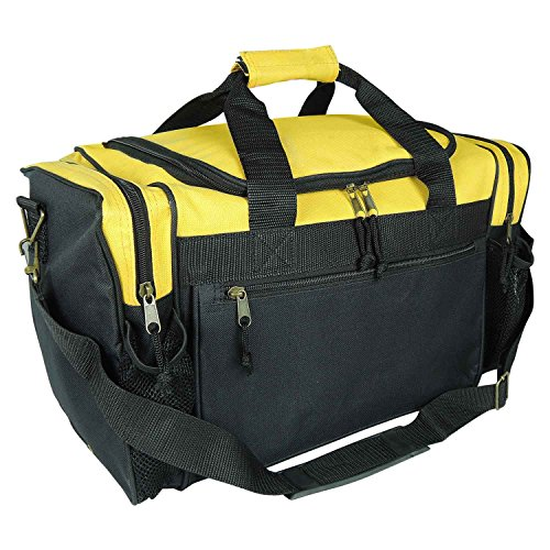 "DALIX 17"" Duffle Travel Bag with Water Bottle Mesh Pockets in Gold"