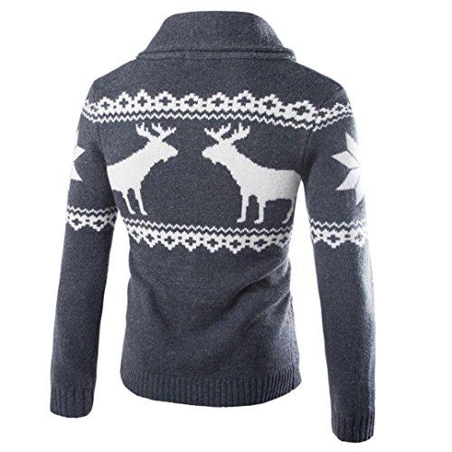 Sweat Tricots Pour De shirt Cardigan Tefamore Gris Noël Manteau Hiver Foncé Hommes 85wqwW4SR