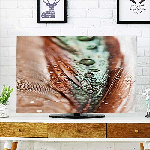Hen Dish Covered (PRUNUS Cover for Wall Mount tv Abstract Composition with Colorful Hen Feather with Water Drops Cover Mount tv W32 x H51 INCH/TV 55