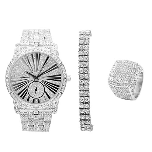 Bling-ed Mens Hip Hop Roman Numeral Dial Silver Tone Watch w/ 2 Row Bling-ed Out Tennis Bracelet and Matching Bling Ring - L0503S2RT3Set(9)