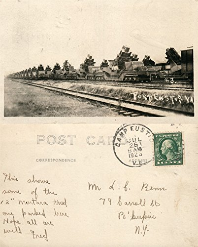 RAILROAD MORTARS FORT EUSTIS VA 1928 VINTAGE REAL PHOTO POSTCARD RPPC (Railroad Mortar)