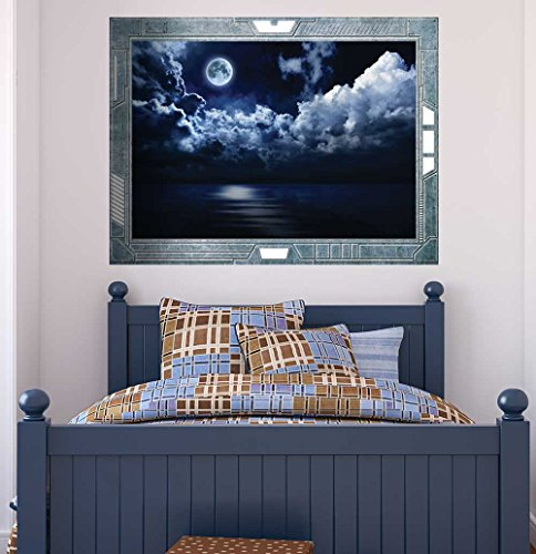 Science Fiction ViewPort Decal View of the Moon on a Gloomy Night Wall Mural