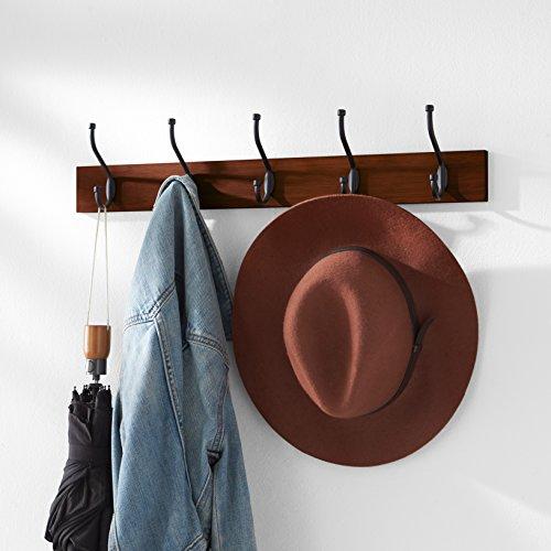 AmazonBasics Wall-Mounted Farmhouse Coat Rack, 5 Standard Hooks, Light Walnut