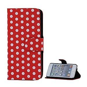 LD A000419 funda de funda tipo libro para iPod touch 5 Rojo/lunares blancos