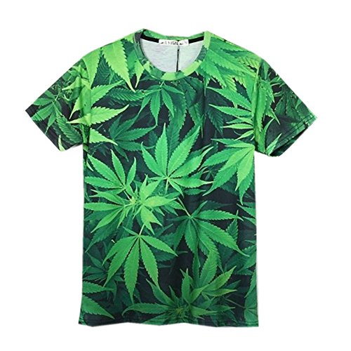 Unisex-Weed-hemp-leaf-print-Galaxy-Short-Sleeve-3D-T-Shirt