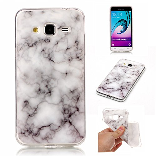 Galaxy J3 Case, Galaxy Amp Prime Case, Galaxy Express Prime Case, KMISS [Marble Pattern] Soft Rubber Silicone Skin Cover for Samsung Galaxy J3 (2016) / Amp Prime / Express Prime (Smoke White)