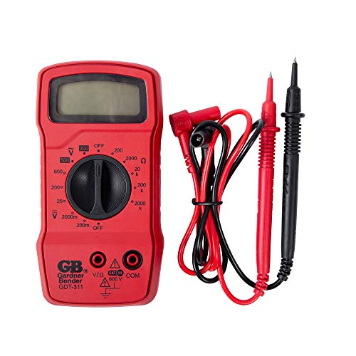 Gardner Bender GDT-311 Digital Multimeter, 3 Function, 11 Range, Tests AC/DC Voltage and Resistance, Manual Ranging, 3.5 inch Display, 1/Each