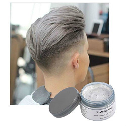 Hair Wax Color - Styling Cream Mud - Natural Hairstyle Dye Pomade - Party Cosplay - Gray - -