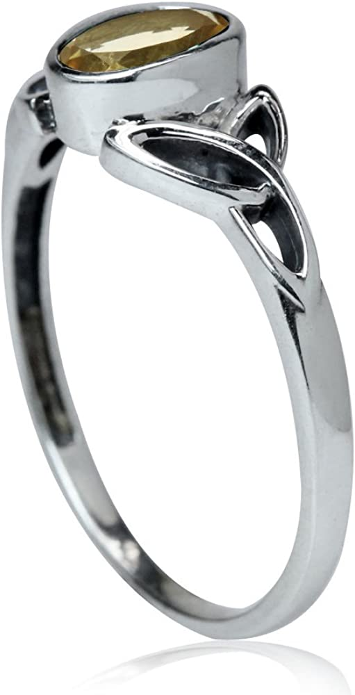 Silvershake 1.72ct Natural Citrine 925 Sterling Silver Celtic Knot Solitaire Ring