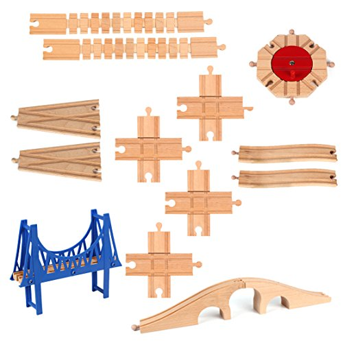 13 Pieces Wooden Railway Train Track Expansion Set Toy for Kids 8 Ways Turntable Bridges Switch Connectors and Adapters Compatible with Thomas Brio Ikea Chuggington Train Tracks and Other Major Brands