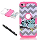 Ipod Gen 5 32gb Best Deals - iPod Touch 6th Generation Case,Lantier 3 Layers Verge Hybrid Soft Silicone Hard Plastic TUFF Triple Quakeproof Drop Resistance Protective Case Cover with Stylus Waves Owl/Hot Pink