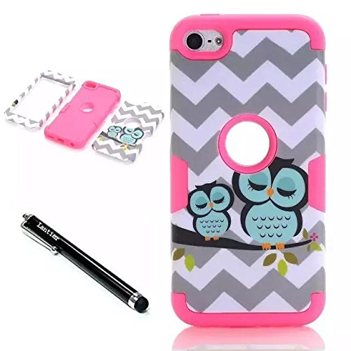 iPod Touch 6th Generation Case,Lantier 3 Layers Verge Hybrid Soft Silicone Hard Plastic TUFF Triple Quakeproof Drop Resistance Protective Case Cover with Stylus Waves Owl/Hot Pink ()