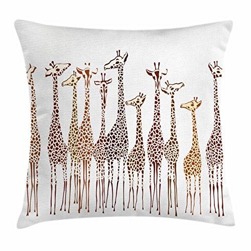 Lunarable Safari Throw Pillow Cushion Cover, Tropical Giraffes Exotic Climates Wilderness Savannah Animals Artful Illustration, Decorative Square Accent Pillow Case, 16 X 16 Inches, Multicolor
