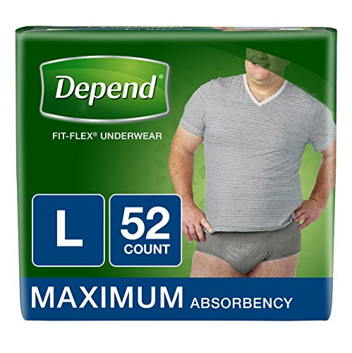 Depend FIT-Flex Incontinence Underwear for Men, Maximum Absorbency, Disposable, L, Grey, 52 Count