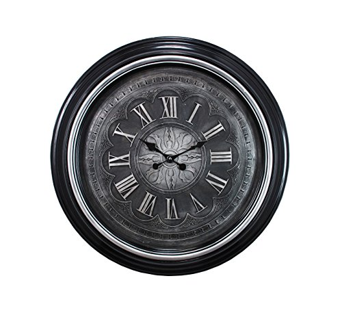 Kiera Grace Genoa Oversized Wall Clock with Raised Roman Numerals, 23-Inch, 2-Inch Deep, Black with Brushed Silver Bezel