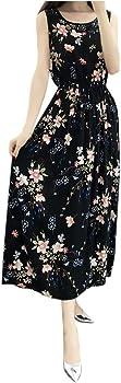 Best4UrLife Womens Floral Printed Sleeveless Dress Scoop Neck Sundress