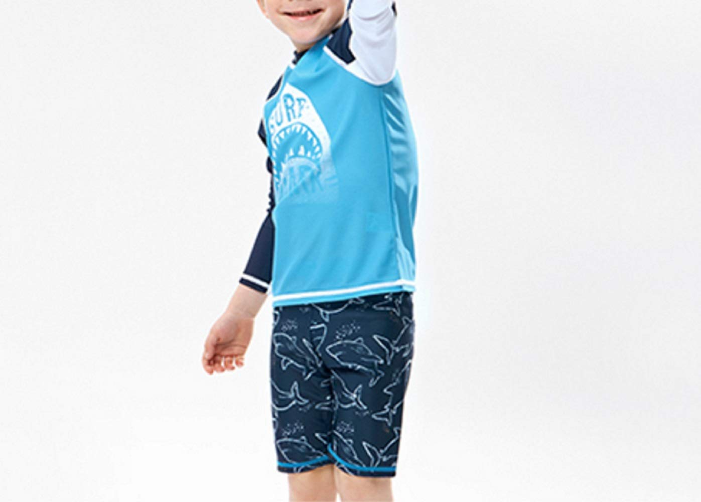 Pullic Kids Children Long Sleeve Split Swimsuits Kids Sunscreen Letter Printing Wetsuit for Water Sports(Blue) by Pullic (Image #2)