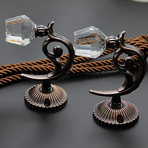 Katoot Rose Flower Decorative Hooks Clear Glass Crystal Wall Hooks 5 Color Gold Silver Bronze Copper Coat Hangers Curtain Tie Back (Antique Copper) ()