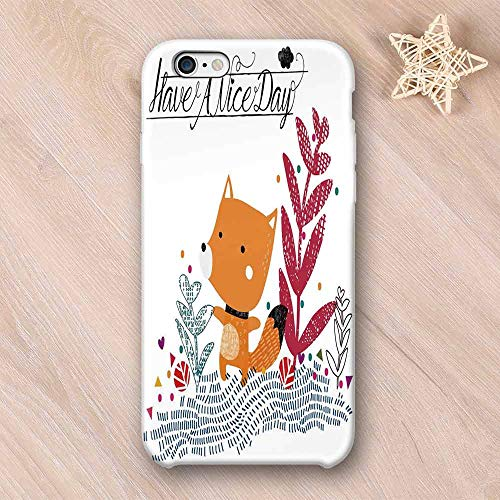 - Fox Wear Resisting Compatible with iPhone Case,Cute Little Fox Character Colorful Geometric Spring Field Have a Nice Day Text Dots Compatible with iPhone 7/8,iPhone 6/6s