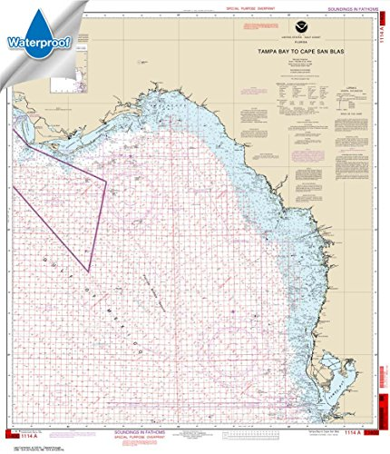 Paradise Cay Publications NOAA Chart 1114A: Tampa Bay to Cape San Blas (Oil and Gas Leasing Areas) 34.6 x 29.7 (WATERPROOF)