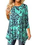 Women Floral Tops 3/4 Sleeve Irregular Hem Asymmetrical Tunic Loose Long Blouse Shirt