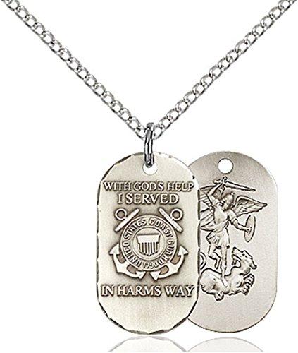 Sterling Silver U.S. Coast Guard Dogtag Pendant with Saint Michael Back, 3/4 - Guard Dog Coast Us Tag