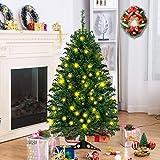Tangkula Árbol de Navidad Artificial con Base PVC Decoración para Navidad Hogra Fiesta Verde