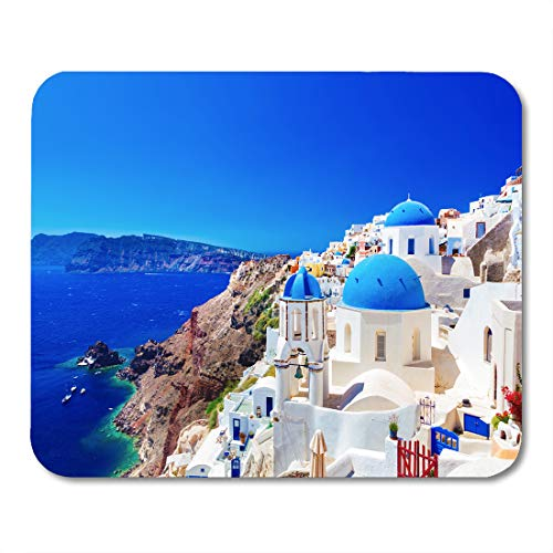 (Emvency Mouse Pads Oia Town on Santorini Island Greece Traditional and Famous Houses Churches Blue Domes Over The Caldera Mousepad 9.5