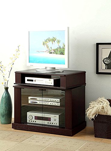 Rolling Media Center - Multi Media TV Stand with Cabinet and Adjustable Shelf Cherry Wooden Rectangular Modern Practical Up to 32 Inch Flat Screen Panel Living Room Media Rolling Cart & eBook by Easy&FunDeals