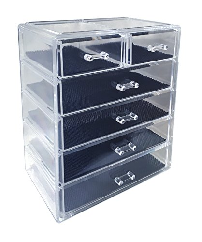 Sodynee YNCHKG129304 Cosmetics Makeup and Jewelry Storage Organizer Case Display Boxes, 4 Large and 2 Small Drawers, 4L2S, Transparent