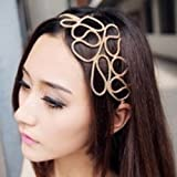 Fashion Women Beauty Gold Knitted Hollow Out Flower Elastic Headband Hair Band Style C (style C) by Nicky's Gift