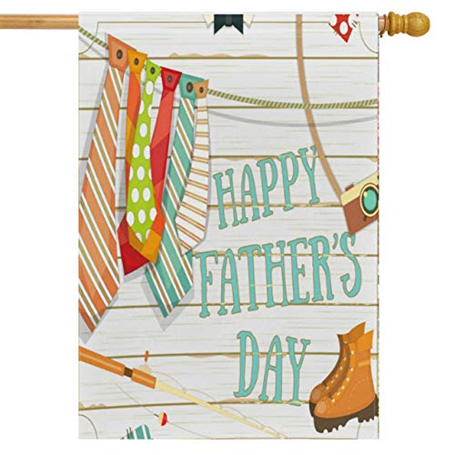 (Wamika Happy Father's Day House Flag 28 x 40 Double Sided, Ties Shoes Camera Fishing Rod Garden Yard Flags Love Dad Outdoor Indoor Banner for Party Home Decorations)