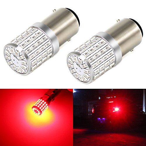 (Phinlion Super Bright 3014 72-SMD 1157 2357 7528 BAY15D Red LED Light Bulbs for Tail Brake or Turn Signal Blinker Lamp Lights)