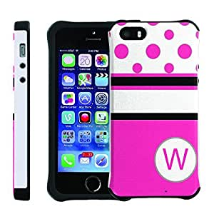 [ManiaGear] SLIM Rugged Hybrid Image Protector Cover (Hot Pink Dots Initial W) for Iphone 5 / 5S
