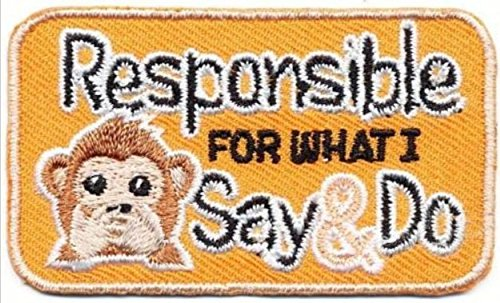 Cub Girl Boy Responsible For What I Say and Do Embroidered Iron-On Fun Patch Crests Badge Scout Guides